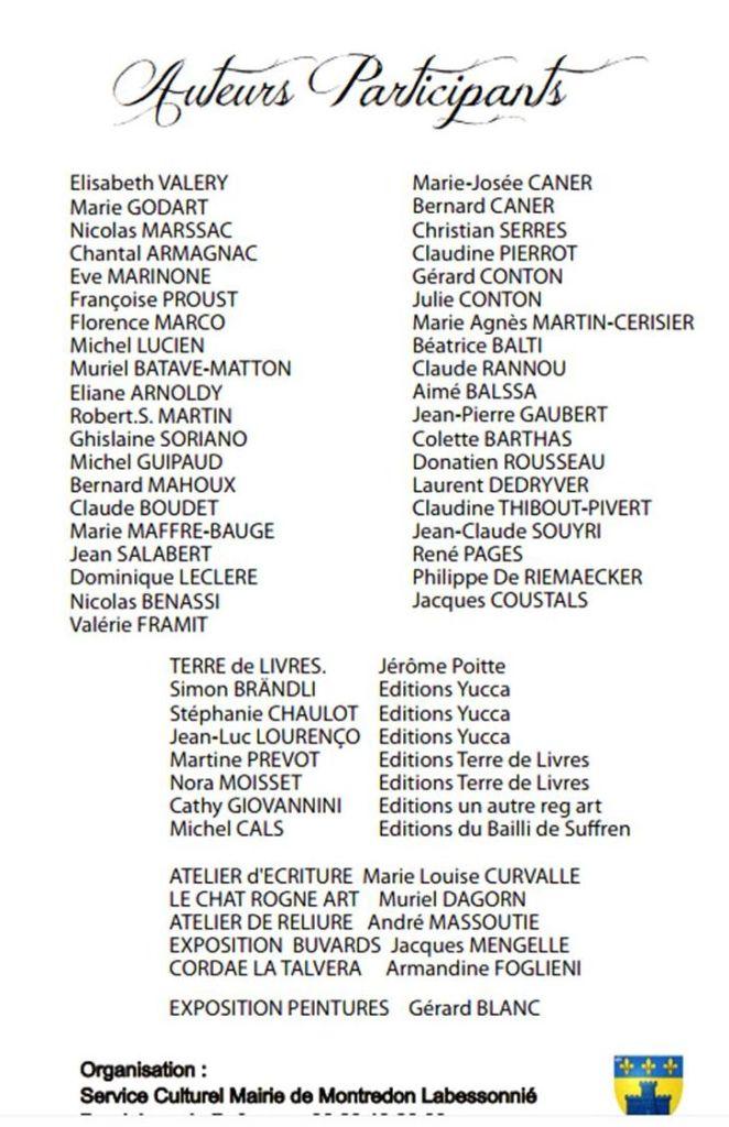 Liste complète des auteurs inscrits à Montredon Labessonnié.
