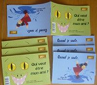 """""""Quand je saute ! / Qui veut être mon ami ?"""". Auteur : Nanou Mila/ Illustrateur : Céline Monchoux."""
