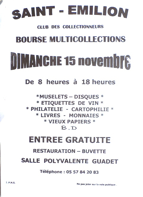 Bourse Multi-Collections - Saint-Emilion (33)