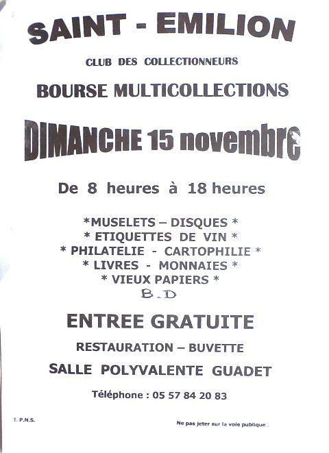 Bourse Multi-Collections - Saint-Emilion (33)