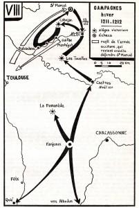 Carte extraite de l'épopée cathare de Michel Roquebert, éditions Privat.