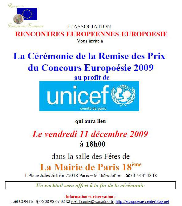 Remise des prix du concours Europoésie UNICEF 2009