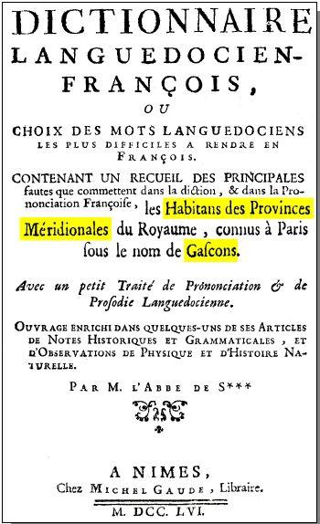 Dictionnaire Languedocien-Français de l'abbé de Sauvages