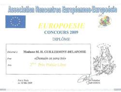 2ème Prix Poésie Libre Europoésie