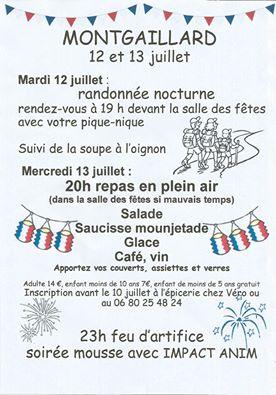 Randonnée Nocturne et Feu d'Artifice ... à Montgaillard (81)