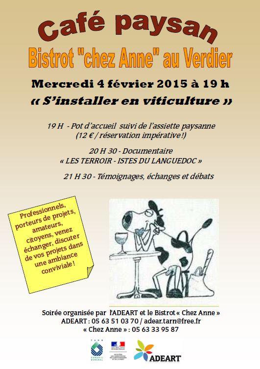 """Café Paysan : """"S'installer en viticulture"""" au Verdier (81)"""