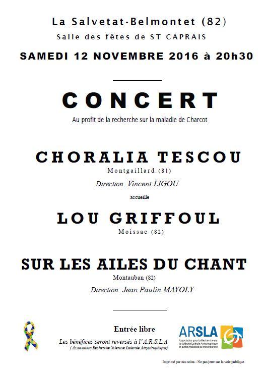 Concert au profit de la luttre contre la Maladie de Charcot ... à La Salvetat Belmontet (82)