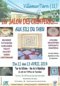 """1er salon des créateurs les 11, 12 et 13 avril 2014 à Villemur sur Tarn, """"Aux Fils du Tarn"""""""