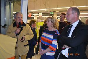 Jean-Paul Albert  et Sylvie Maltrat à l'inauguration du Carrefour Contact - Monclar de Quercy (82)