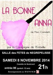 Représentation théâtrale du Théâtre de l'Embellie avec la présentation de la pièce La Bonne Anna