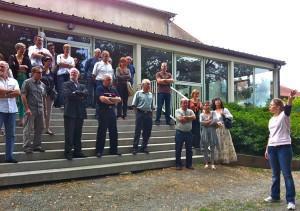 Les élus du territoire en visite annuelle au Centre de loisirs de La Courbe le 12 juillet 2012.