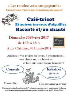 9ième Rendez-vous campagnards : café-tricot raconté et/ou chanté à Saint-Urcisse (81)