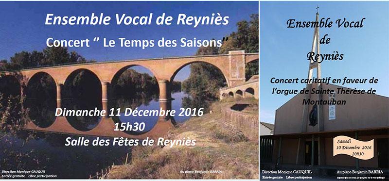 Concerts de l'Ensemble Vocal ... à Montauban et Reyniès (82)