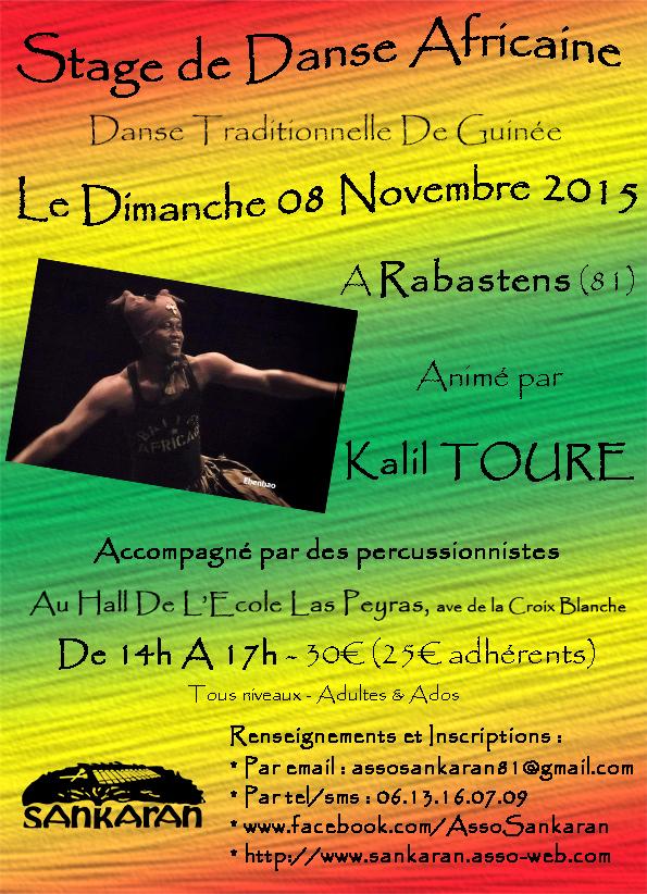 Stage de Danse Africaine Traditionnelle Guinéenne  Avec Kalil TOURE à Rabastens (81)