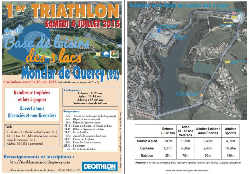 1er Triathlon de la Base de Loisirs à  Monclar de Quercy (82)