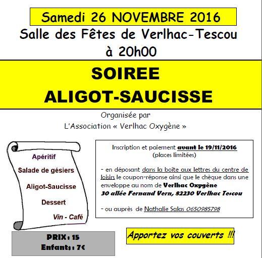Soirée Aligot-Saucisse  ... à Verlhac-Tescou (82)